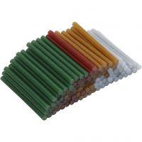 Heißkleber-Sticks, L: 10 cm, D: 7 mm, Glitter, Gold, Grün, Rot, Silber, 100 Stk/ 1 Pck