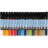 Plus Color Marker, L: 14,5 cm, Strichstärke 1-2 mm, Sortierte Farben, 18 Stk/ 1 Pck, 5,5 ml