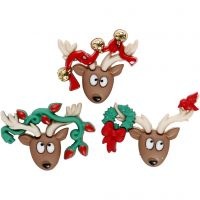 Figuren-Knöpfe, Oh Deer!, H: 23-25 mm, B: 28-34 mm, 3 Stk/ 1 Pck