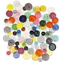 Knopf-Mix - Sortiment, D: 12+18+20 mm, Sortierte Farben, 100 Stk/ 1 Pck, 50 g