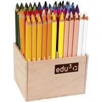 edu3 Jumbo-Buntstifte, Dicke 10 mm, Mine 6,25 mm, Sortierte Farben, 96 Stk/ 1 Pck