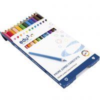 edu3 Jumbo-Buntstifte, Dicke 10 mm, Mine 6,25 mm, Sortierte Farben, 12 Stk/ 1 Pck
