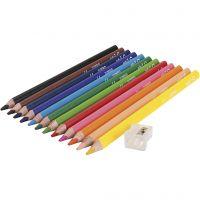 edu 3 Jumbo-Buntstifte, Dicke 10 mm, Mine 5 mm, Sortierte Farben, 12 Stk/ 1 Pck