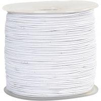 Elastikschnur, Dicke 1 mm, Weiß, 250 m/ 1 Rolle