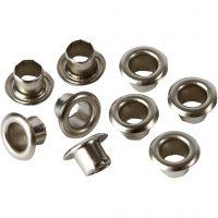 Ösen, H: 4,5 mm, D: 7,5 mm, Lochgröße 4 mm, Silber, 100 Stk/ 1 Pck