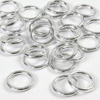 Plastikringe, Größe 15 mm, Dicke 2 mm, Silber, 25 Stk/ 1 Pck
