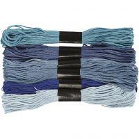 Stickgarn, Dicke 1 mm, Harmonie in Blau, 6 Bündl./ 1 Pck