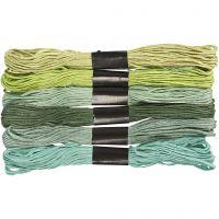 Stickgarn, Dicke 1 mm, Grün mit Glitter, 6 Bündl./ 1 Pck