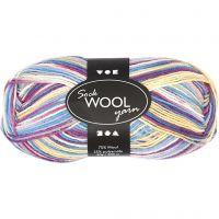 Sockenwolle, L: 200 m, Harmonie in Lila-Pink, 50 g/ 1 Knäuel