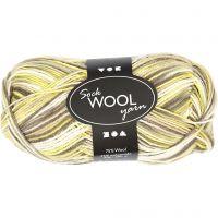 Sockenwolle, L: 200 m, Grün, Gelb, 50 g/ 1 Knäuel