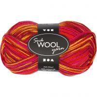 Sockenwolle, L: 200 m, Harmonie in Rot-Orange, 50 g/ 1 Knäuel