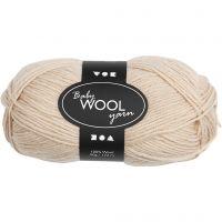 Babywolle, L: 172 m, Beige, 50 g/ 1 Knäuel