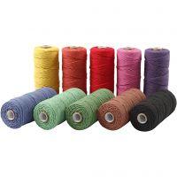Baumwollkordel - Sortiment, L: 315 m, Dicke 1 mm, Dünne Qualität 12/12, Kräftige Farben, 10x220 g/ 1 Pck