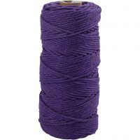 Baumwollkordel - Sortiment, L: 100 m, Dicke 2 mm, Dicke Qualität 12/36, Violett, 225 g/ 1 Knäuel