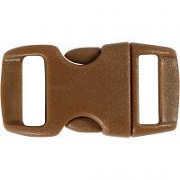 Klickverschluss, L: 29 mm, B: 15 mm, Lochgröße 3x11 mm, Braun, 4 Stk/ 1 Pck