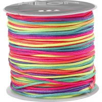 Macramé-Kordel, Multicolor, Dicke 1 mm, Neonfarben, 28 m/ 1 Rolle