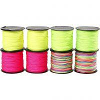 Macramé-Kordel, Dicke 1 mm, Neongrün, Neonpink, Neongelb, Neonmix, 8x28 m/ 1 Pck