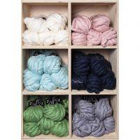 XL-Chunky-Garn aus Polyacryl/Wolle, L: 15 m, Größe mega , Sortierte Farben, 6x5 Knäuel/ 1 Pck