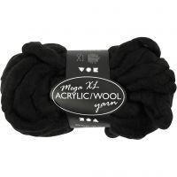 XL-Chunky-Garn aus Polyacryl/Wolle, L: 15 m, Größe mega , Schwarz, 300 g/ 1 Knäuel