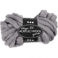 XL-Chunky-Garn aus Polyacryl/Wolle, L: 15 m, Größe mega , Grau, 300 g/ 1 Knäuel