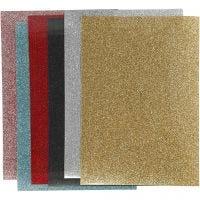 Bügelfolie, 148x210 mm, Glitter, Sortierte Farben, 6 Bl./ 1 Pck