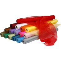 Organzastoff, B: 50 cm, Sortierte Farben, 16x6 Rolle/ 1 Pck