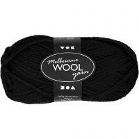 Melbourne Wolle, L: 92 m, Schwarz, 50 g/ 1 Knäuel
