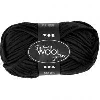 Sydney Wolle, L: 50 m, Schwarz, 50 g/ 1 Knäuel