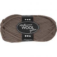 Melbourne Wolle, L: 92 m, Graubraun, 50 g/ 1 Knäuel