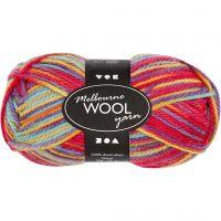 Melbourne Wolle, L: 92 m, Multicolor, 50 g/ 1 Knäuel