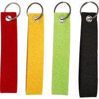 Schlüsselanhänger, Größe 3x15 cm, Schwarz, Grün, Rot, Gelb, 4 Stk/ 1 Pck