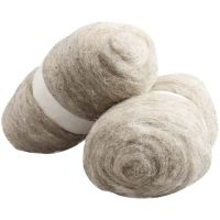 Wolle, kardiert, Natur, 2x100 g/ 1 Pck