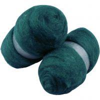 Wolle, kardiert, Grün, 2x100 g/ 1 Pck