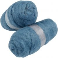 Wolle, kardiert, Himmelblau, 2x100 g/ 1 Pck