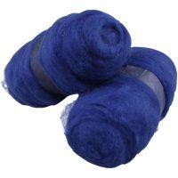 Wolle, kardiert, Königsblau, 2x100 g/ 1 Pck