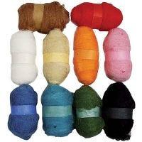 Kardierte Wolle - Sortiment, Sortierte Farben, 10x25 g/ 1 Pck