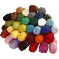 Kardierte Wolle - Sortiment, Sortierte Farben, 35x100 g/ 1 Pck
