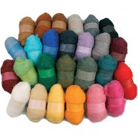 Kardierte Wolle - Sortiment, Sortierte Farben, 26x25 g/ 1 Pck