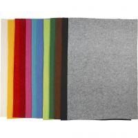 Bastelfilz, 42x60 cm, Dicke 3 mm, Sortierte Farben, 12 Bl. sort./ 1 Pck