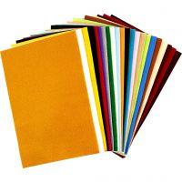 Bastelfilz, 20x30 cm, Dicke 1,5 mm, 180-200 g, Sortierte Farben, 24 Bl. sort./ 1 Pck