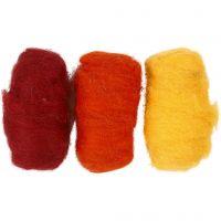 Kardierte Wolle, Harmonie in Gelb-Terrakotta, 3x10 g/ 1 Pck