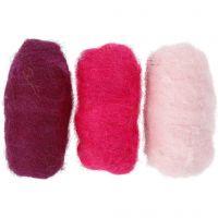 Kardierte Wolle, Harmonie in Lila-Pink, 3x10 g/ 1 Pck