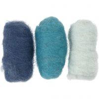 Kardierte Wolle, Harmonie in Blau, 3x10 g/ 1 Pck
