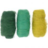 Kardierte Wolle, Harmonie in Grün-Türkis, 3x10 g/ 1 Pck