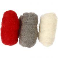 Kardierte Wolle, Harmonie in Rot-Weiß, 3x10 g/ 1 Pck