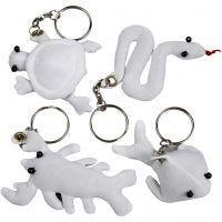 Schlüsselanhänger aus Stoff, Größe 4-8 cm, Weiß, 4 Stk/ 1 Pck