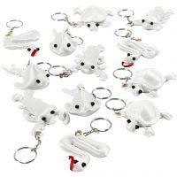 Schlüsselanhänger aus Stoff, Größe 4-8 cm, Weiß, 4x3 Stk/ 1 Pck