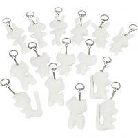 Schlüsselanhänger aus Stoff, Größe 6-10 cm, Weiß, 15 Stk/ 1 Pck
