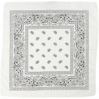 Bedrucktes Bandana-Tuch, Größe 55x55 cm, Weiß, 1 Stk