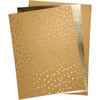 Kunstlederpapier, 21x27,5+21x28,5+21x29,5 cm, Dicke 0,55 mm, Einfarbig,Foliedetails,Bedruckt, 3 Bl./ 1 Pck